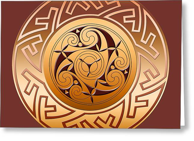 Wiccan Art Greeting Cards - Celtic Spiral and Key Pattern Greeting Card by Melissa A Benson