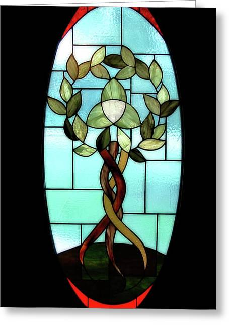 Sky Glass Art Greeting Cards - Celtic Three Root Tree Greeting Card by Laura Brightwood