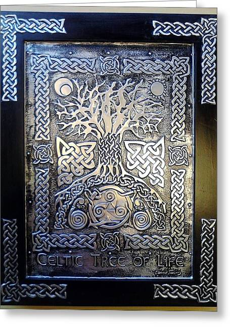Life Reliefs Greeting Cards - Celtic Tree Of Life Greeting Card by Cacaio Tavares