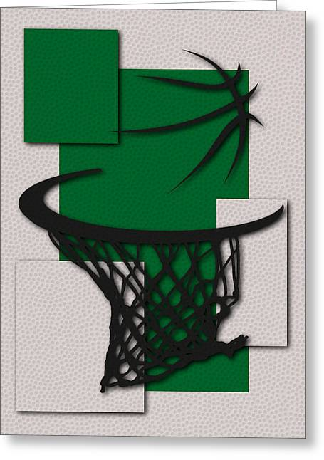 Celtics Basketball Greeting Cards - Celtics Hoop Greeting Card by Joe Hamilton