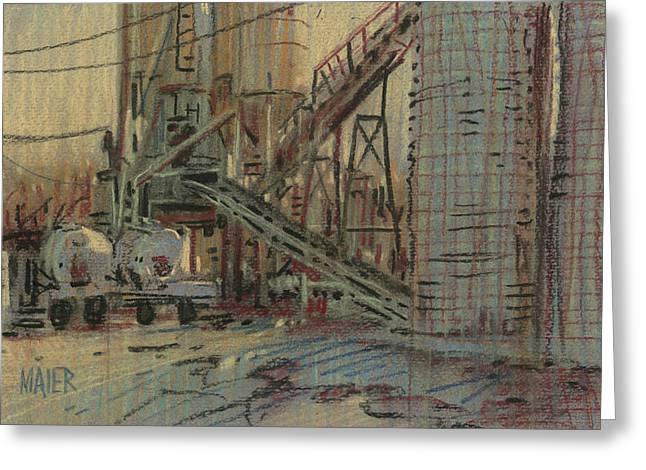 Plein Air Pastels Greeting Cards - Cement Company Greeting Card by Donald Maier