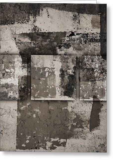 Greeting Cards - Cement Squares Number Four Greeting Card by Carol Leigh
