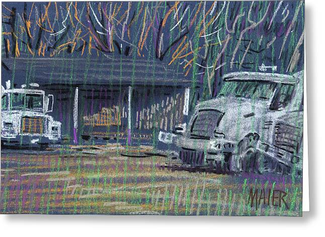 Plein Air Pastels Greeting Cards - Cement Trucks Greeting Card by Donald Maier