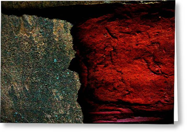 Cracked Stone Greeting Cards - Cement Wall at the Farm Greeting Card by Cynthia Dickinson