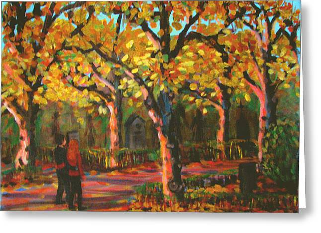 Cemetary In Autumn Greeting Card by Art Nomad Sandra  Hansen