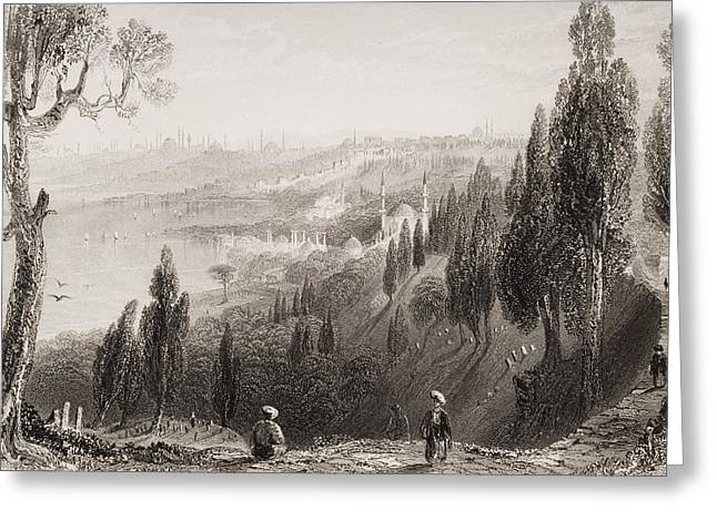 White River Scene Drawings Greeting Cards - Cemetery And Mosque Of Ayub, Eyyub Greeting Card by Vintage Design Pics