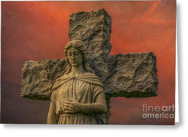 Grave Markers Greeting Cards - Cemetery Angel Statue Sunset Greeting Card by Randy Steele