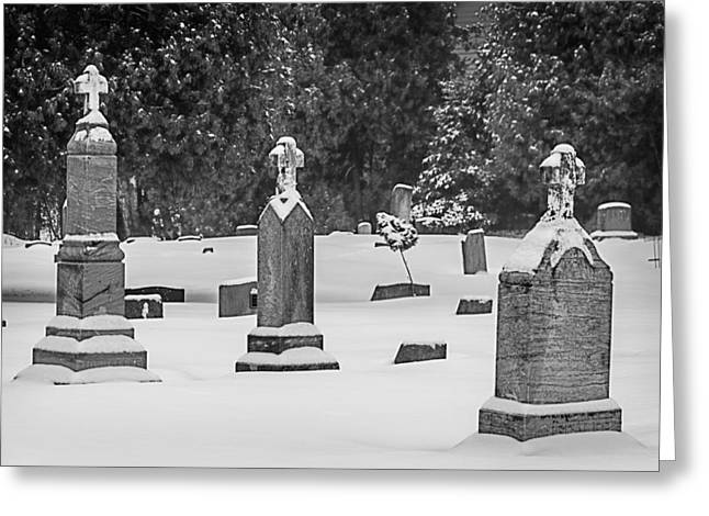 Cemetery In Snow Greeting Card by Joan Carroll