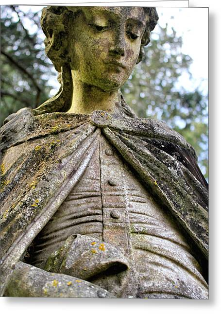 Moss Sculptures Greeting Cards - Cemetery Statue Greeting Card by E A