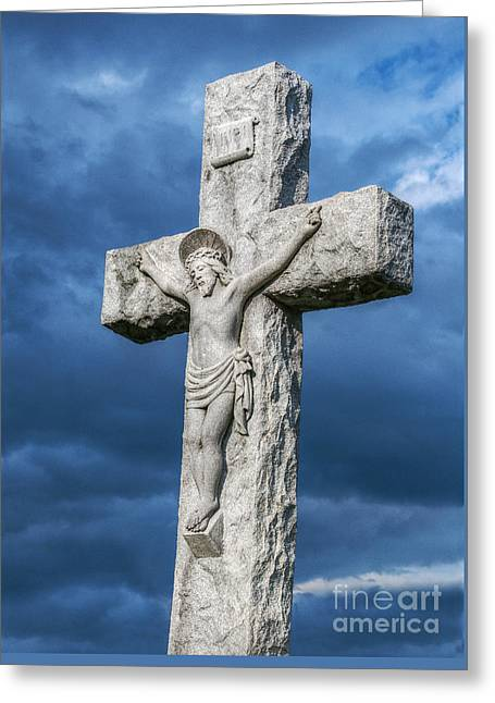 Jesus In Clouds Greeting Cards - Cemetery Statue of Jesus Greeting Card by Randy Steele