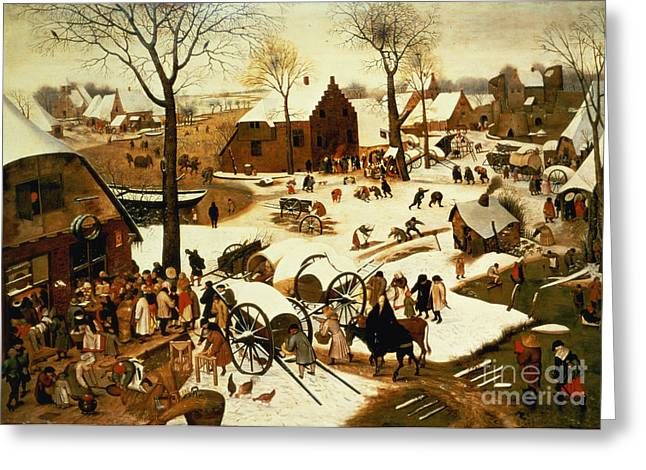 Christian Paintings Greeting Cards - Census at Bethlehem Greeting Card by Pieter the Elder Bruegel