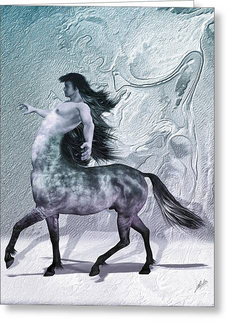 Warm Tones Greeting Cards - Centaur cool tones Greeting Card by Quim Abella