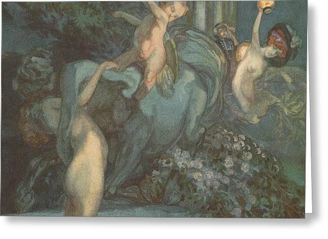 Centaur Nymphs And Cupid Greeting Card by Franz von Bayros