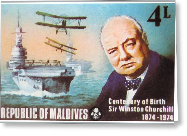Paper Airplanes Paintings Greeting Cards - Centenary Of Birth Sir Winston Churchill Greeting Card by Lanjee Chee