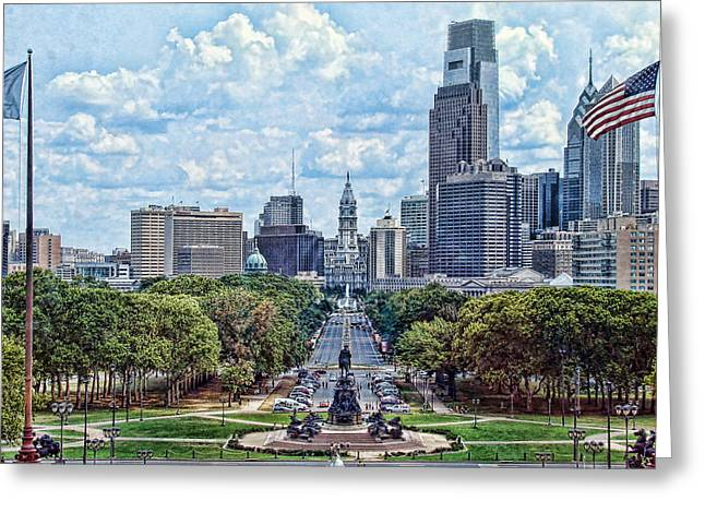 Penn Digital Art Greeting Cards - Center City Philly Greeting Card by Kevin  Sherf