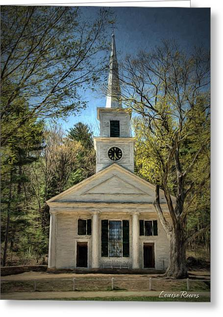 New England Village Greeting Cards - Center Meeting House Greeting Card by Louise Reeves