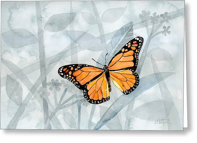 Butterflies Paintings Greeting Cards - Center Of Attention Greeting Card by Arline Wagner