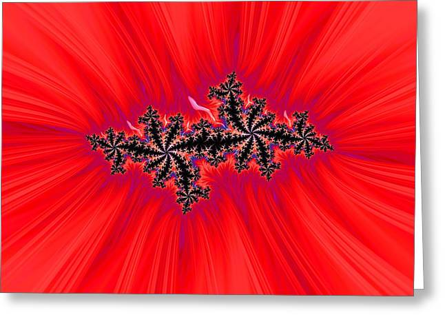 Red Abstracts Greeting Cards - Centered Greeting Card by Barbara Zahno