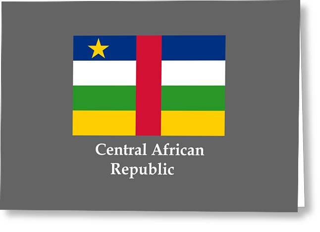 African Heritage Greeting Cards - Central African Republic Flag And Name Greeting Card by Frederick Holiday