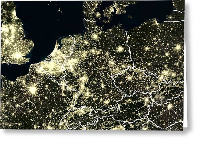 North Sea Greeting Cards - Central Europe At Night, Satellite Image Greeting Card by Planetobserver