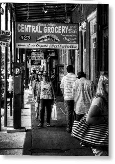 Deli Greeting Cards - Central Grocery Muffuletta in Black and White Greeting Card by Greg Mimbs
