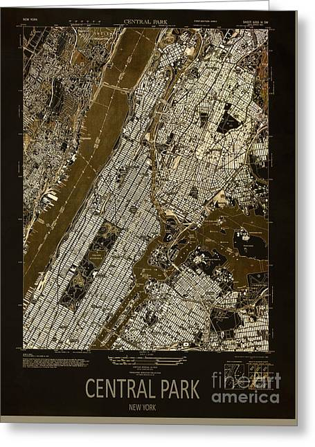 Central Mixed Media Greeting Cards - Central Park 1947 Greeting Card by Pablo Franchi