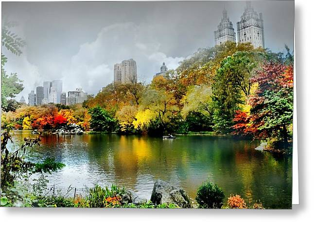 Pond In Park Greeting Cards - Central Park #4 Greeting Card by Diana Angstadt