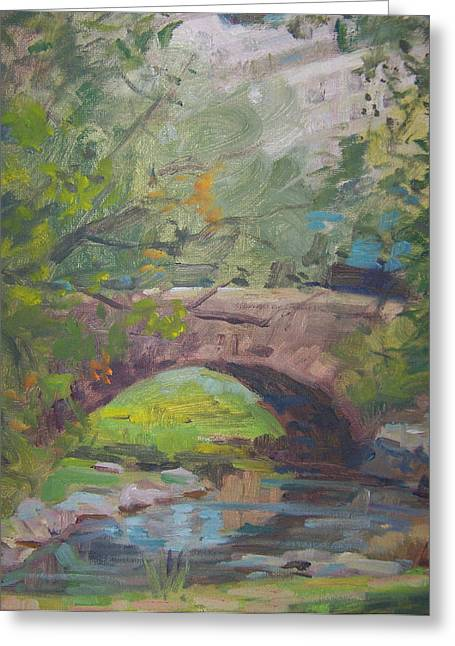 Pond In Park Greeting Cards - Central Park bridge Greeting Card by Bart DeCeglie