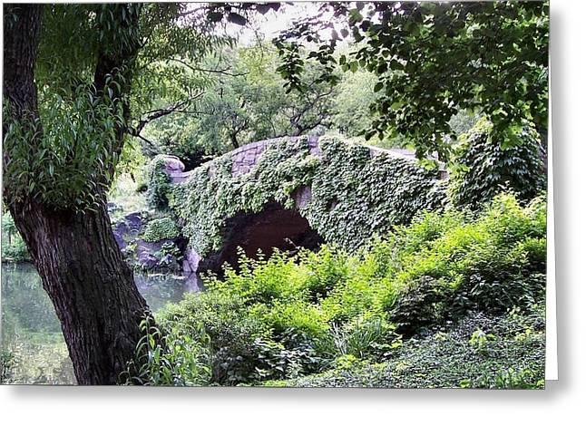 Central Park Bridge Greeting Card by Bruce Lennon