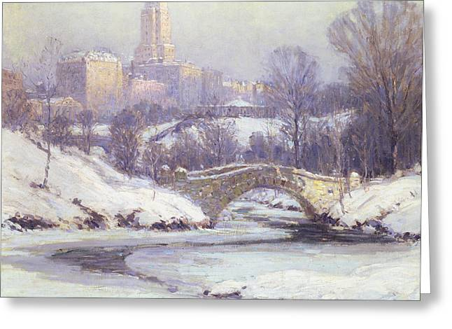 Blizzard New York Greeting Cards - Central Park Greeting Card by Colin Campbell Cooper