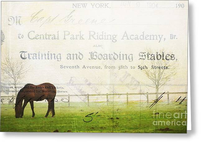 Surface Design Greeting Cards - Central Park Horse Landscape Scene Greeting Card by Anahi DeCanio - ArtyZen Studios