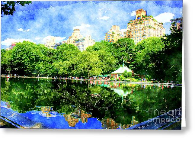 Toy Boat Greeting Cards - Central Park Greeting Card by Julie Lueders