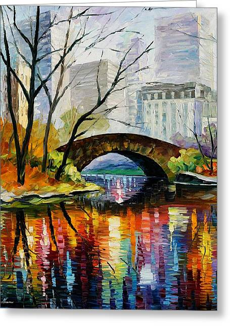 City Scenes Paintings Greeting Cards - Central Park Greeting Card by Leonid Afremov