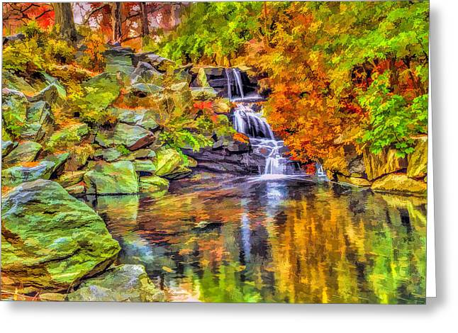 Pond In Park Greeting Cards - Central Park New York City Waterfall in autumn Greeting Card by Geraldine Scull