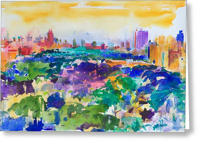 New York City Paintings Greeting Cards - Central Park New York Greeting Card by Peter Graham