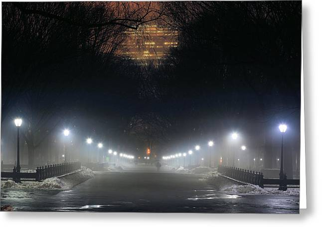 Jogging Greeting Cards - Central Park Shadows Greeting Card by JC Findley
