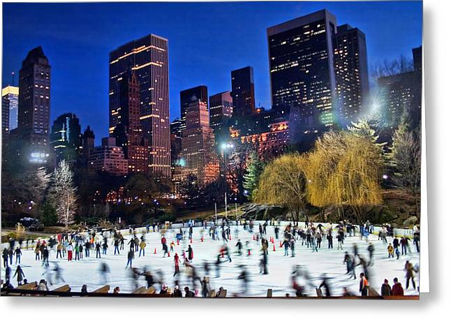 Central Park Skaters Greeting Card by June Marie Sobrito