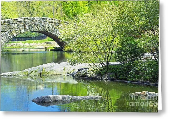 Pond In Park Greeting Cards - Central Park Spring-Gapstow Bridge Greeting Card by Regina Geoghan