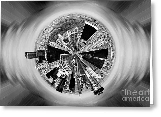 Center City Greeting Cards - Central Park View BW Greeting Card by Az Jackson