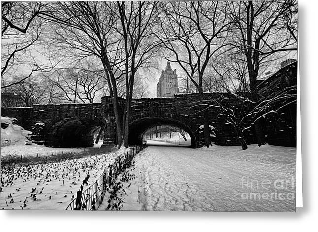 Cold Photographs Greeting Cards - Central Park West and the San Remo Building  Greeting Card by John Farnan