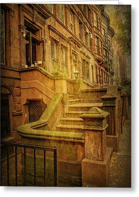 Stepping Stones Greeting Cards - Central Park West Brownstones Greeting Card by Geraldine Scull