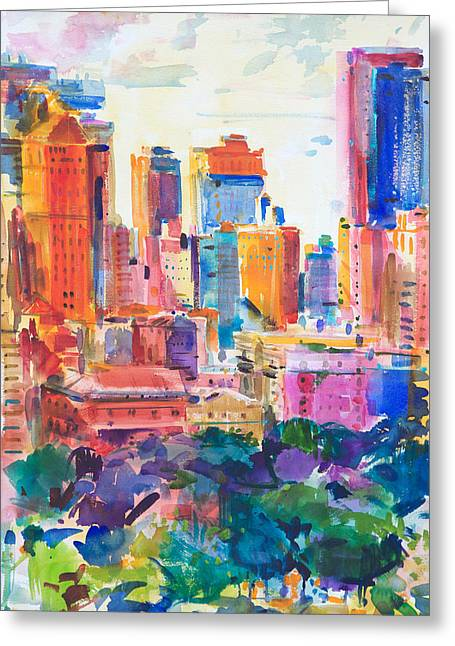 New York City Paintings Greeting Cards - Central Park West Greeting Card by Peter Graham