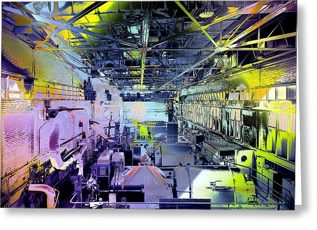 Grunge Central Power Station Greeting Card by Robert G Kernodle