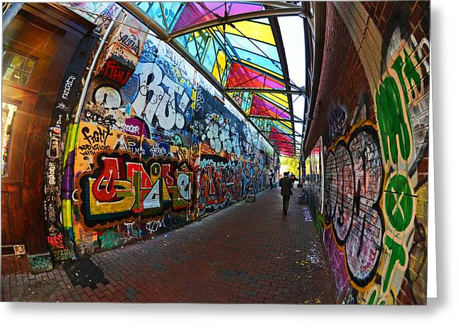 Boston Ma Greeting Cards - Central Square Graffiti Cambridge MA Greeting Card by Toby McGuire