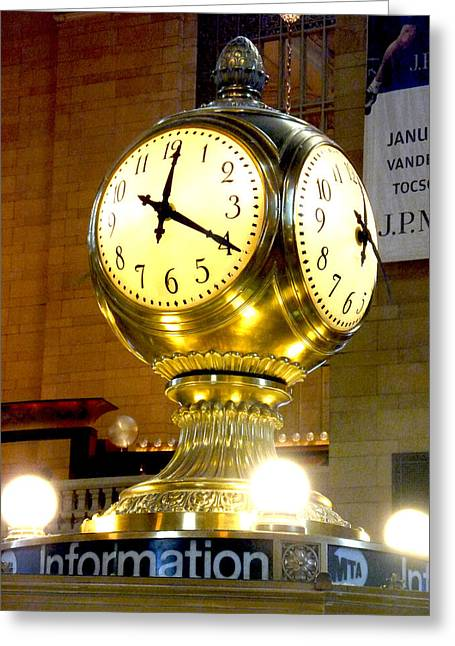 New Greeting Cards - Central Station Clock Greeting Card by Chas Hauxby