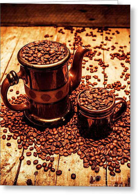 Ceramic Coffee Pot And Mug Overflowing With Beans Greeting Card by Jorgo Photography - Wall Art Gallery