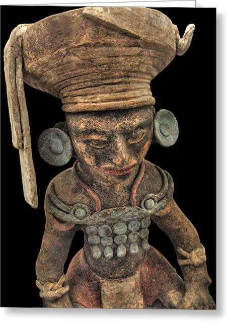 Sacrificial Greeting Cards - Ceramic Mayan King from Copan Greeting Card by Doug Matthews