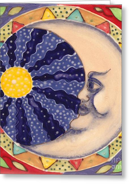 Whimsical. Ceramics Greeting Cards - Ceramic Moon Greeting Card by Anna Skaradzinska
