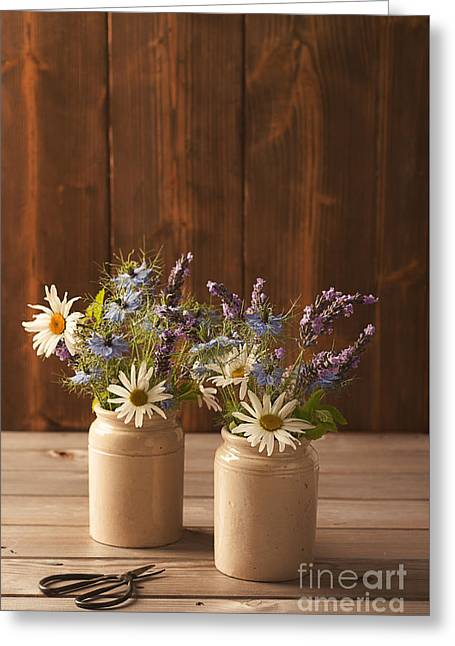 Ceramic Pots Filled With Flowers Greeting Card by Amanda Elwell