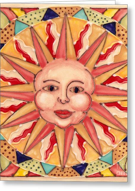 Patterned Ceramics Greeting Cards - Ceramic Sun Greeting Card by Anna Skaradzinska